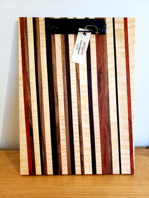 Custom unique Clipboards show assortment of hardwood, handmade for office or gift and is sustainable at Hardwood Artisans
