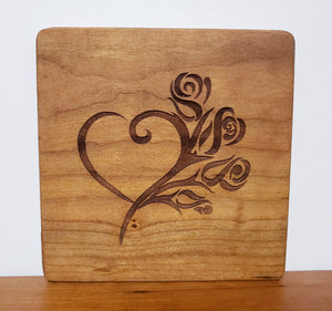 Wood engraved art with a heart and floral design, home decor accessory and unique gift, a sustainable item Made in Virginia