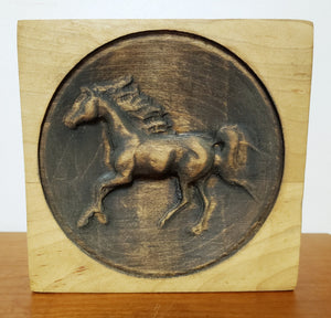 Wood engraved artwork of horse, circular designed accessory for you or as a unique gift, handcrafted and made in Virginia