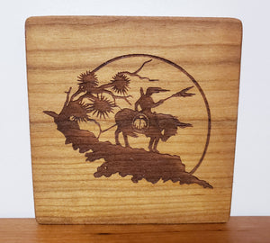 Wood engraved art with a horse & indian, circular design ideal for home accessory or gift, a sustainable item Made in Virginia