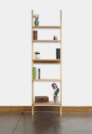 Leaning Bookcase is a perfect addition to any living space, handcrafted and made to order in various hardwoods in the DC area