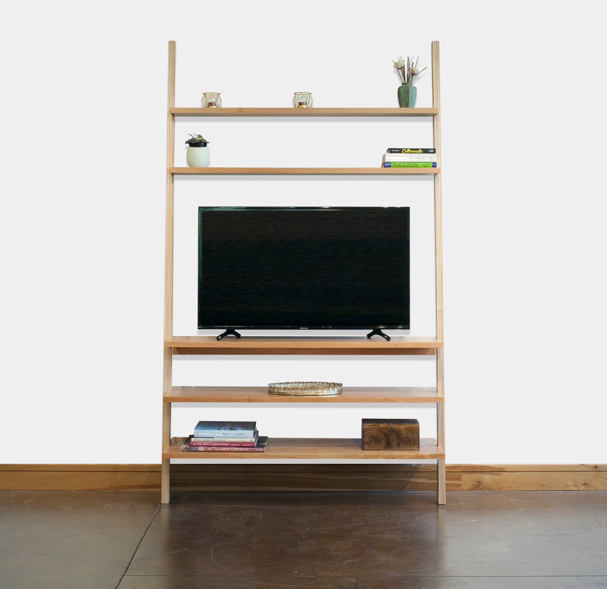 Leaning Bookcase Entertainment Center