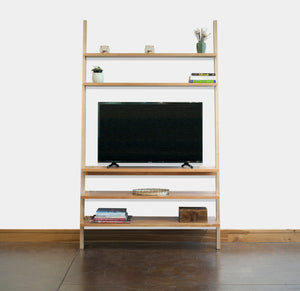 Leaning TV Stand is a modern style furniture addition to your Living Room made by hand in an assortment of solid hardwoods
