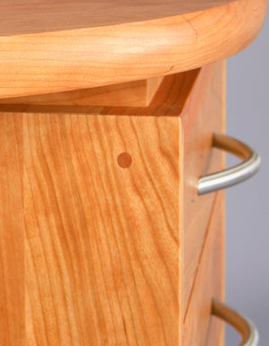 Linnaea Desk office furniture custom detail of drawer and desktop handmade in assorted solid hardwoods from North America