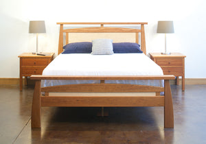 Pasadena Bed in red oak, birch, maple, cherry, mahogany, curly maple, or quarter sawn white oak through Hardwood Artisans, VA