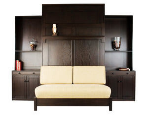 Sofa Wall Bed bedroom furniture unit includes nightstands, cabinet-bookcases, loveseat and cushions. Made in Culpeper, Virginia