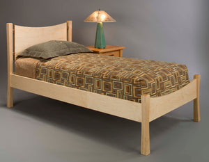 Baton Rouge Bed in red oak, birch, maple, cherry, mahogany, curly maple, and quarter sawn white oak by Hardwood Artisans VA