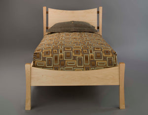 Baton Rouge Bed shown in twin size with mattress, bedroom suite custom made in solid wood by Hardwood Artisans in Virginia