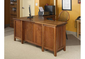 "Craftsman 70"" Corner Desk, Executive, w/ keyboard tray, 2 top & 1 file drawer on each side, finished back and modesty panel"