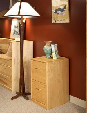 Contemporary 2-Drawer Deskmate in Red Oak File Cabinet custom-crafted, hand-finished, wood office furniture w/ Amish joinery