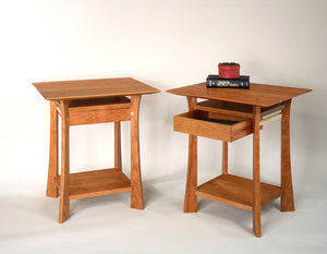 Waterfall Nighstands in Natural Cherry with Maple Accents by Hardwood Artisans is bedroom furniture handcrafted near Bethesda