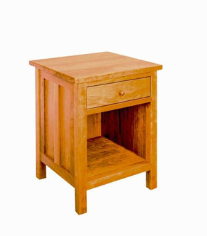 Craftsman Parmet in Cherry with Mahogany wash stain, bedroom furniture 1-drawer night table by Hardwood Artisans near Oakton