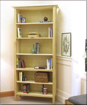 Craftsman Bookcase in Maple with frame & panel sides and elegant legs, sustainable Living Room Furniture by Hardwood Artisans