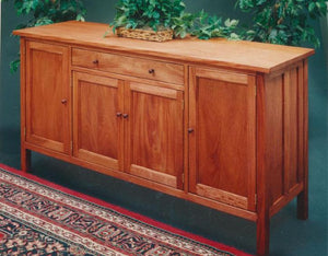 Craftsman Hampton Sideboard with small wooden pegs in Mahogany is a hand-finished, solid hardwood furniture w/ Amish joinery