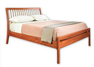 Artisan Sleigh Bed with a Straight Leg in Cherry with Mahogany Wash and Curly Maple Slats