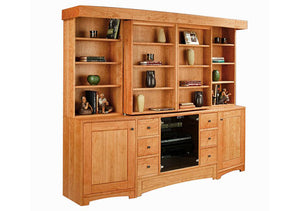 Artisan Entertainment Library in Natural Cherry, customized entertainment center design, made to order at Hardwood Artisans
