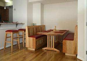 Arts and Crafts Table, Custom Banquettes, and Artisan Counter Stools in Birch