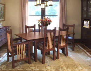Highland Table shown w/ Custom Designed Chairs in 1/4-Sawn White Oak w/ Chautauqua Stain and Contrasting Accents, fine dining