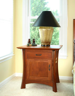 Waterfall Parmet Bed Table Edge Detail in Mahogany is a solid wood bedroom furniture bedside table handmade near Leesburg VA