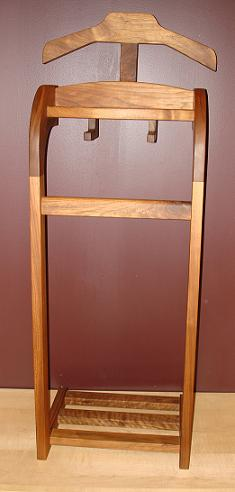 Wardrobe Valet Stand in Walnut - Husband's Furniture Gift that includes Suit & Clothing hanger, shoe bars and wallet/key tray
