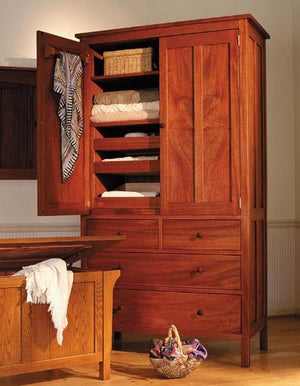 Craftsman 4-drawer Armoire with Craftsman Bench Chest in Mahogany Hardwood Bedroom Furniture made near Chevy Chase, Maryland