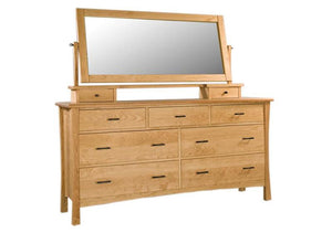 Baton Rouge Grand Mesa with Dresser Top Mirror in Natural Cherry from Hardwood Artisans showing an American Traditional style