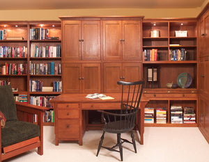 Office Built-Ins by Hardwood Artisans feature quality solutions w/ lumber from sustainable foresting companies near Burke VA