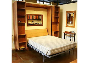 Bi-Folding Bookcase Wall Bed bedroom furniture with modern panel doors & nightstands custom made  near Spotsylvania County