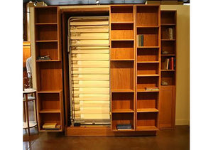 Bi-Folding Bookcase Murphy Bed, Hardwood Artisans