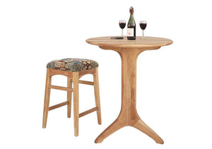 Round Bistro Table and Artisan Stool in Birch, Hardwood Artisans