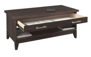InTransit Coffee Table in Walnut w/ Aniline Dye Stain shown w/ drawers designed for limited spaces made by Hardwood Artisans