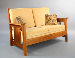 Parlor Loveseat in Walnut w/ selection of upholstery, solid hardwood living room furniture, handcrafted and made in the USA