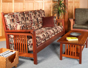 Parlor Loveseat Sofa shown w/ Chair and Crofters Coffee Table in Mahogany, sustainable hardwood handmade interior furniture