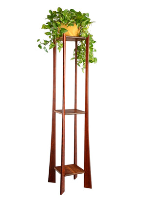 Tall Plant Stand in Quarter Sawn White Oak with Chataqua Stained Legs and Walnut Shelves