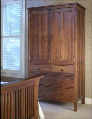 Craftsman 4-drawer Armoire in Walnut solid bedroom furniture by Hardwood Artisans custom handmade near Brookeville, Maryland