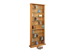 CD Bookcase and Hassock in Natural Cherry, media storage, is made in America by bespoke furniture maker Hardwood Artisans