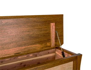 Waterfall Bench in Mahogany with Curly Maple Panels is a custom bedroom furniture chest Made in Virginia by Hardwood Artisans