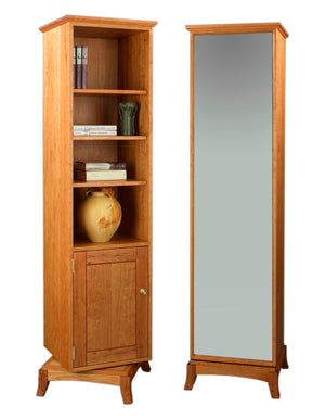 Sartia Swivel Bookcase in Natural Cherry showing storage & mirror sides, is a custom generational living area furniture piece