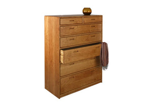 Contemporary 7-Drawer Chest Dresser available in red oak, birch, maple, cherry, mahogany, curly maple, or 1/4 sawn white oak