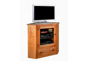 Corner TV Cabinet, shown in Natural Cherry, handmade furniture custom designed for small/limited living rooms near Maryland