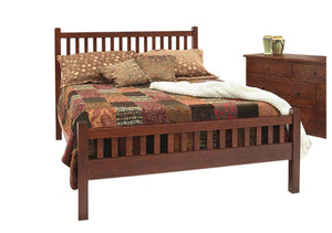 Craftsman Bed with Slatted Footboard and Craftsman Grand Mesa Dresser in 1/4-Sawn White Oak and Chautauqua Stain in Culpeper
