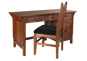 Small Craftsman Desk with Artisan Chair in Mahogany, Hardwood Artisans Furniture