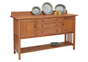 Craftsman Huntboard displays an Arts & Crafts Period panel design, 2 cupboards, 3 drawers, a lower shelf and slatted sides