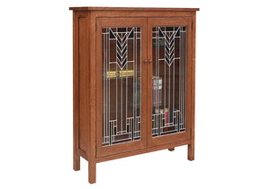 Craftsman Library w/ Art Glass doors designed in 1/4-Sawn White Oak w/ English Oak Finish - Made in the USA near Warrenton VA
