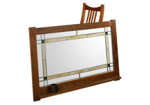 Craftsman Mirror w/ Art glass and shown with a chair is versatile solid wood wall decor that pairs nicely w/ any living space