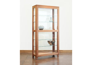 Curio Cabinet features solid hardwood design w/ dimmable lights, adjustable glass shelves & sliding door by Hardwood Artisans