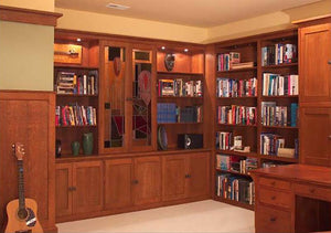 Office Built-Ins by Hardwood Artisans feature cabinet/s or bookcase/s customized to fit/fill a specific space in home/office