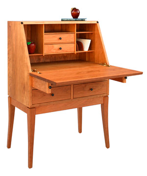 Simply Beautiful Secretary in Natural Cherry handmade hardwood desk with tapered legs and 4-drawers by Hardwood Artisans