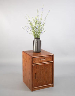 Contemporary Nightstand with Optional Door in Red Oak with a English Oak Stain