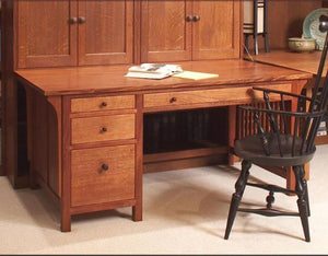 Craftsman Home Office Desk w/ a large workhorse top and optional keyboard tray or pencil drawer in various hardwoods/finishes